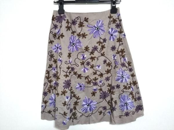 マリパルミ スカート サイズ40 M レディース ベージュ×パープル×ブラウン 刺繍/花柄