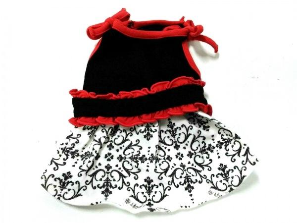 フィフィ&ロメオ 小物 XS美品  黒×白×レッド ドッグウェア コットン×ポリウレタン