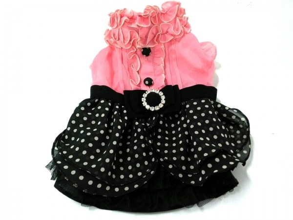 フィフィ&ロメオ 小物 XS美品  ピンク×黒×アイボリー ドッグウェア/フリル/ドット柄