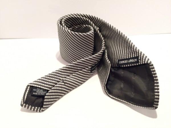 GIORGIOARMANI(ジョルジオアルマーニ) ネクタイ メンズ グレー×白 ストライプ
