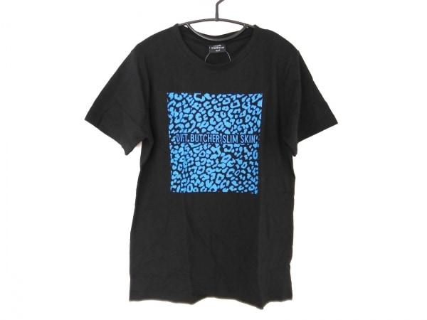 ダイエットブッチャースリムスキン 半袖Tシャツ メンズ新品同様  黒×ネイビー