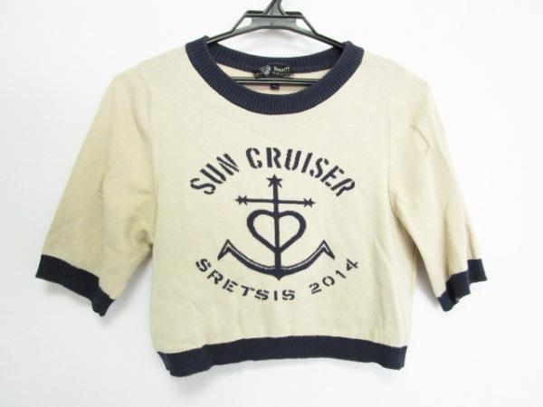 sretsis(スレトシス) 七分袖セーター サイズ36 S レディース ベージュ×ネイビー