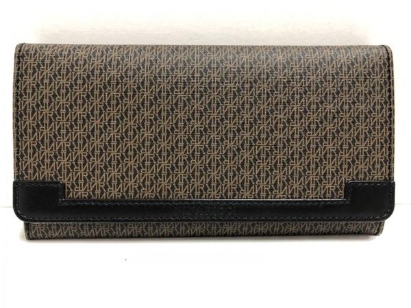 NINARICCI(ニナリッチ) 長財布 ダークブラウン×黒 がま口 PVC(塩化ビニール)×レザー