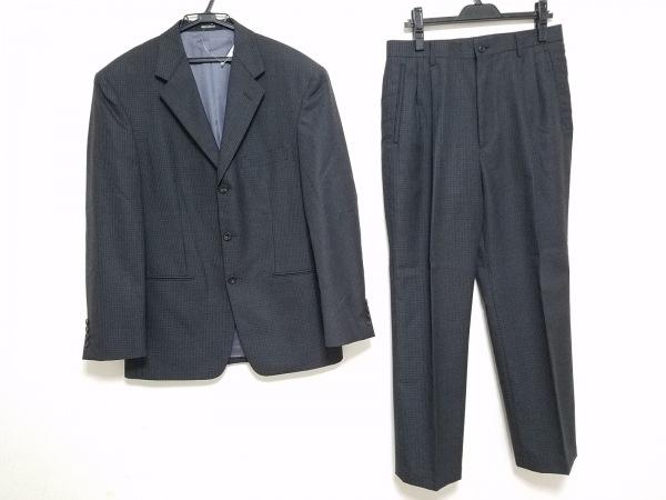 ビリデューエ シングルスーツ サイズ48 XL メンズ ダークグレー×アイボリー