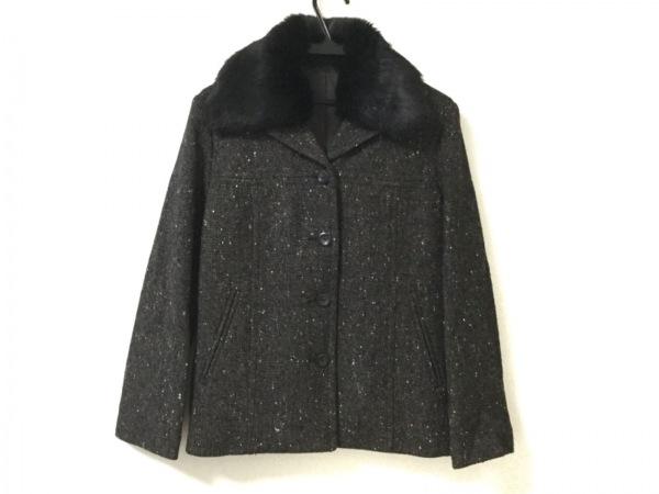 ボディドレッシング コート サイズ9 M レディース美品  黒×ダークブラウン×マルチ