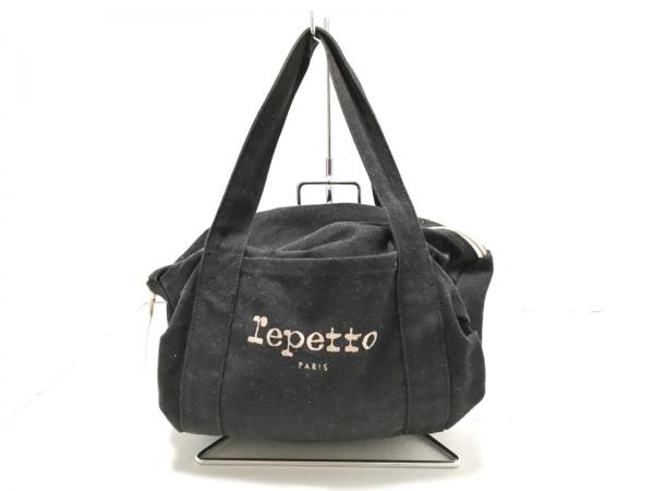 repetto(レペット) ハンドバッグ 黒×ベージュ キャンバス