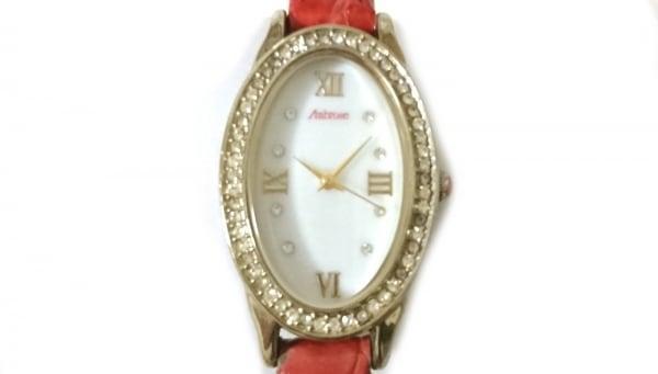 アンブローズ 腕時計 - レディース 革ベルト/型押し加工/シェル文字盤/ラインストーン