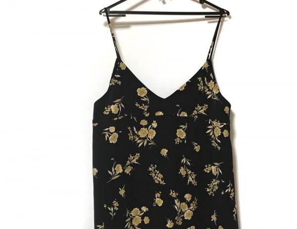 ミラオーウェン ワンピース サイズF レディース 黒×アイボリー×マルチ 花柄