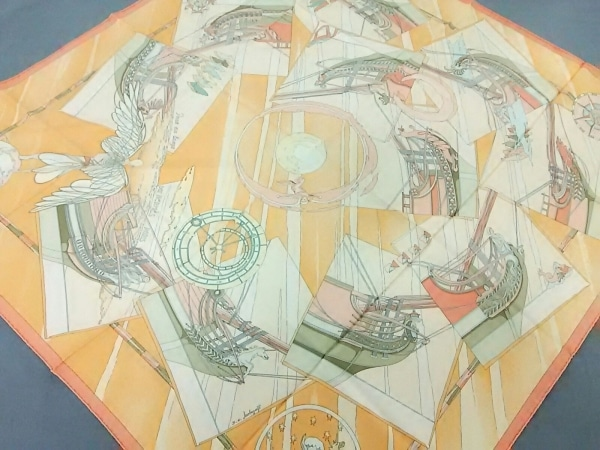 エルメス スカーフ美品  カレ オレンジ×ピンク×マルチ Face au large/品質タグなし