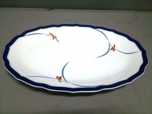 香蘭社(コウランシャ) プレート新品同様  白×ネイビー×マルチ 陶器