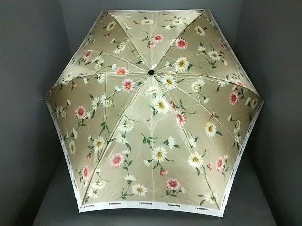 RENOMA(レノマ) 折りたたみ傘 ライトグレー×白×レッド 花柄 化学繊維