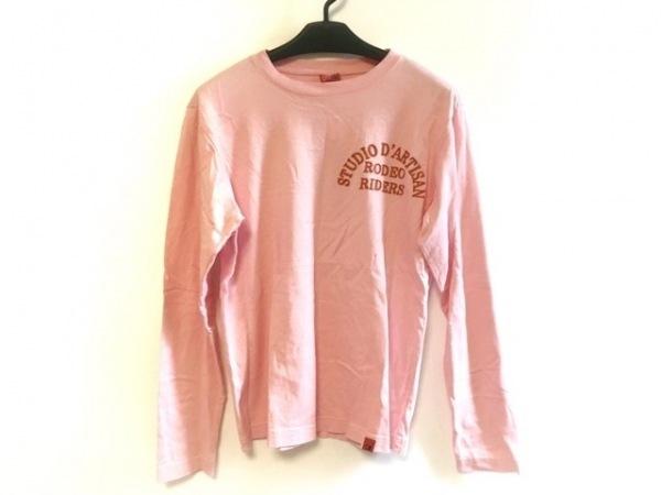 ダルチザン 長袖Tシャツ サイズM メンズ ピンク×ライトブラウン×マルチ