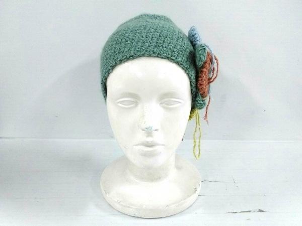 サンアルシデ ニット帽美品  グリーン×ピンク×マルチ スパンコール ウール