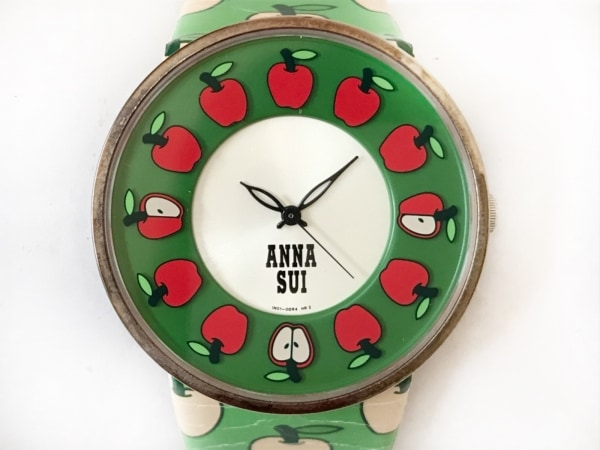 アナスイ 腕時計 1N01-0BR0 レディース 革ベルト グリーン×レッド×シルバー