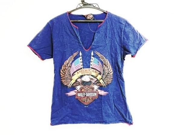 ハーレーダビッドソン 半袖Tシャツ サイズXL レディース ネイビー×レッド×マルチ