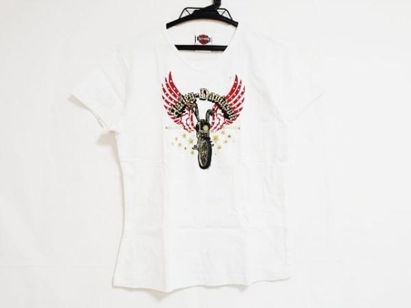 ハーレーダビッドソン 半袖Tシャツ サイズL レディース 白×レッド×マルチ