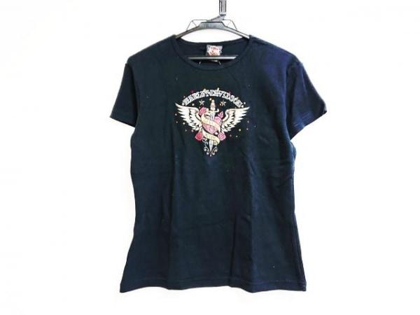ハーレーダビッドソン 半袖Tシャツ サイズL レディース 黒×レッド×マルチ