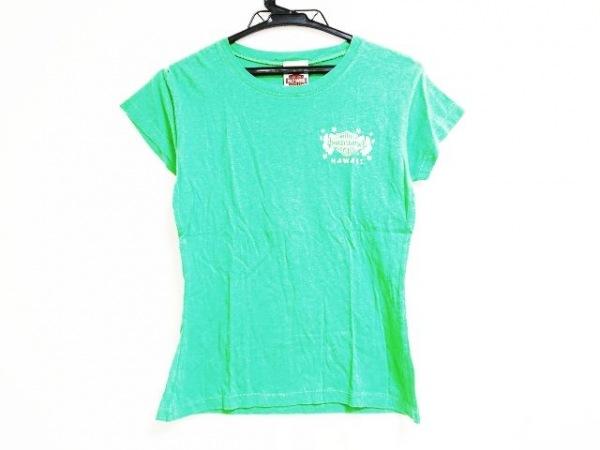 ハーレーダビッドソン 半袖Tシャツ サイズL レディース グリーン×アイボリー HAWAII