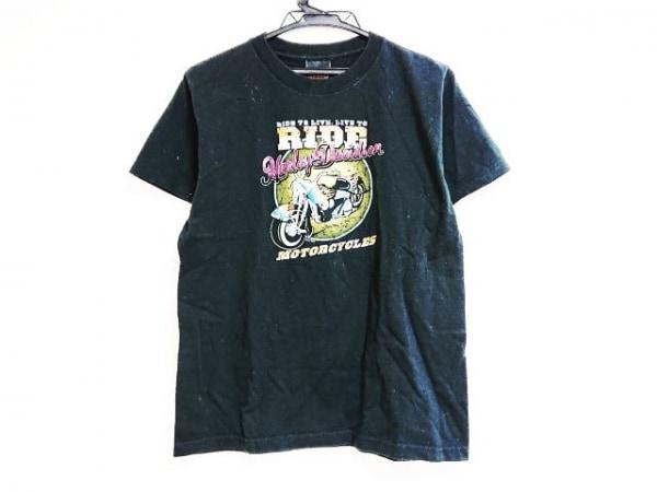HARLEY DAVIDSON(ハーレーダビッドソン) 半袖Tシャツ サイズL レディース 黒×マルチ