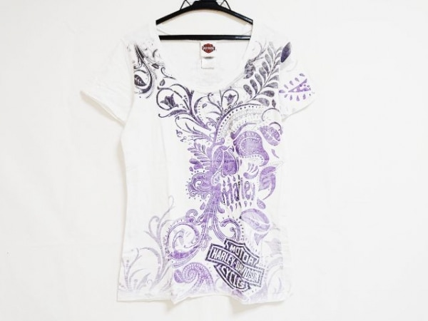 ハーレーダビッドソン 半袖Tシャツ サイズL レディース アイボリー×パープル×マルチ