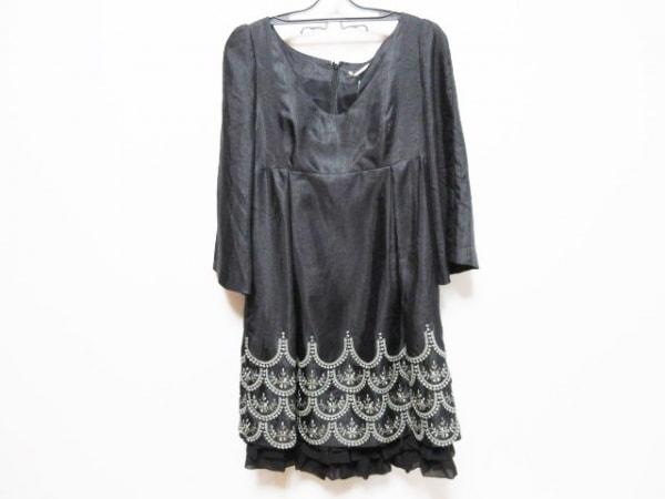 seta ichiro(セタイチロウ) ワンピース サイズ38 M レディース 黒×シルバー 刺繍