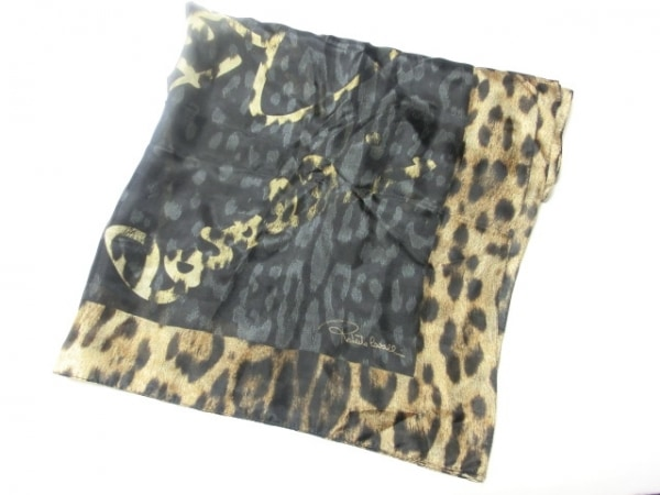 ロベルトカヴァリ ストール(ショール)美品  黒×ブラウン×ベージュ 豹柄 シルク