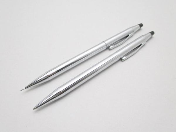 CROSS(クロス.) ペン美品  シルバー ボールペン(インクあり黒)&シャーペン 金属素材
