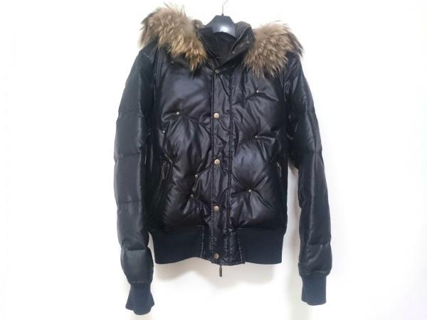 プリッグス ダウンジャケット サイズ48 XL レディース 黒×ライトブラウン×ベージュ