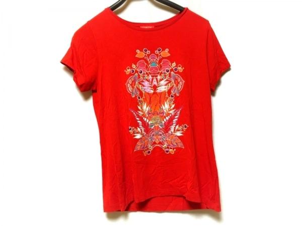 シャコック 半袖Tシャツ サイズL レディース レッド×パープル×マルチ スパンコール