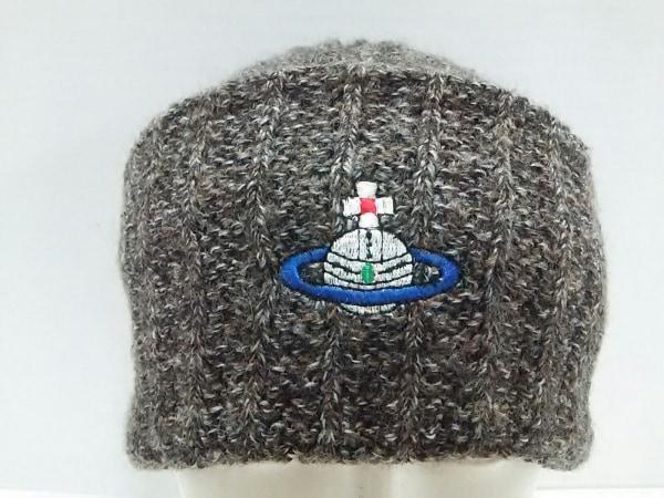 ヴィヴィアンウエストウッドマン ニット帽 S ダークグレー×ベージュ×マルチ 刺繍