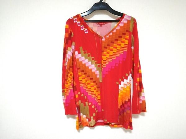 シャコック 七分袖カットソー サイズ2 M レディース美品  レッド×オレンジ×マルチ