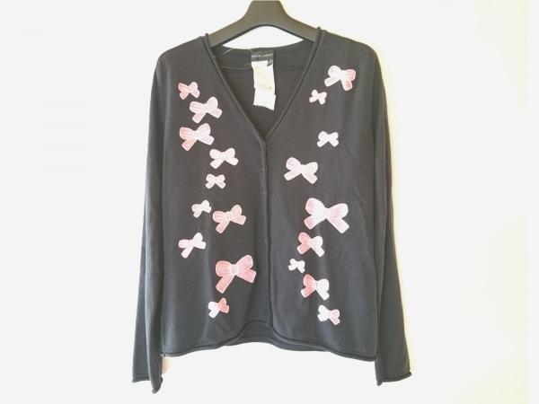 RENA LANGE(レナランゲ) カーディガン サイズL レディース 黒×ピンク リボン/刺繍