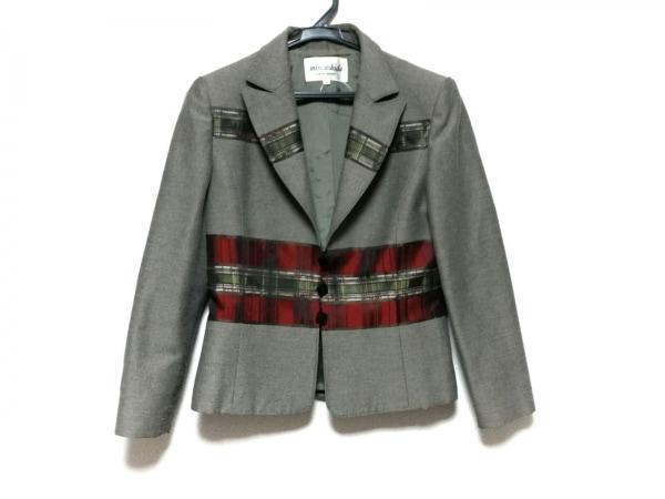 ミスアシダ ジャケット サイズ9 M レディース グレー×マルチ チェック柄/肩パッド