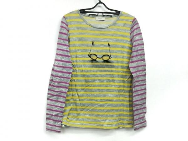 ポールスミス 長袖Tシャツ サイズM レディース美品  グレー×イエロー×ピンク