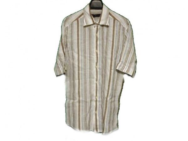 Zegna(ゼニア) 半袖シャツ メンズ 白×ダークブラウン×マルチ ストライプ