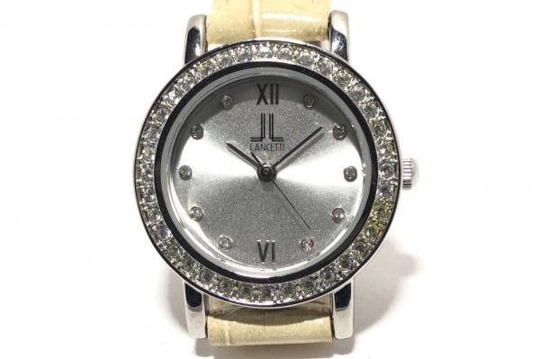 ランチェッティ 腕時計 A1967 レディース ラインストーンベゼル/型押し革ベルト