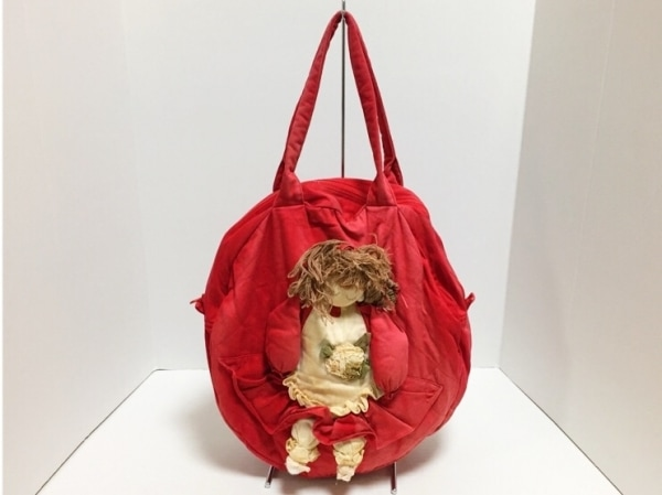 ポテチーノ ショルダーバッグ レッド×アイボリー×マルチ 人形モチーフ キャンバス