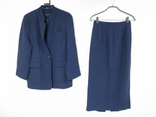 アイヴァン スカートスーツ サイズ40 M レディース美品  パープル×黒 ストライプ