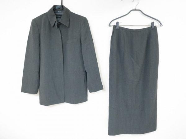 アイヴァン スカートスーツ サイズ40 M レディース美品  ダークグレー 肩パッド