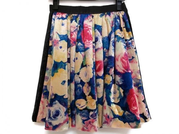 ロイスクレヨン スカート サイズM レディース美品  黒×マルチ ベロア/花柄