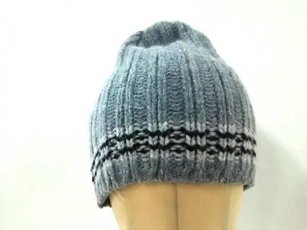 agnes b(アニエスベー) ニット帽美品  グレー×ライトグレー×ダークネイビー ウール