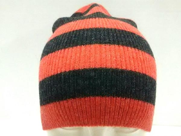 agnes b(アニエスベー) ニット帽美品  オレンジ×ダークグレー ボーダー ウール