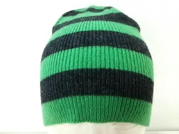 agnes b(アニエスベー) ニット帽美品  グリーン×ダークグレー ボーダー ウール