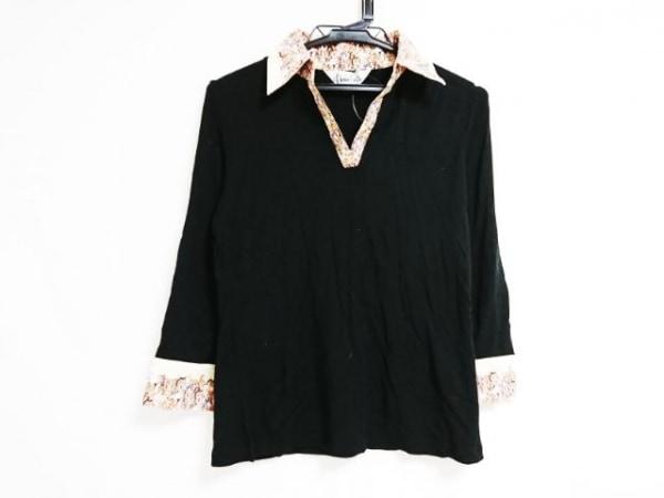クニオ サトウ 七分袖ポロシャツ サイズMEDIUM M レディース 黒×ベージュ×マルチ