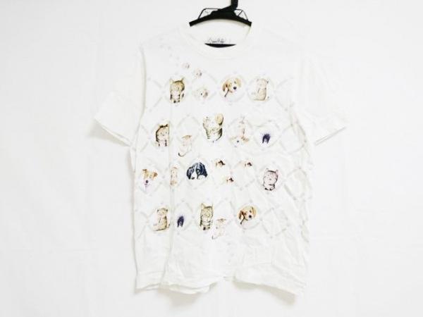 クニオ サトウ 半袖Tシャツ サイズMEDIUM M レディース アイボリー×ブラウン×マルチ