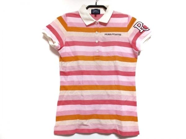 パーリーゲイツ 半袖ポロシャツ サイズ0 XS レディース ピンク×オレンジ ボーダー