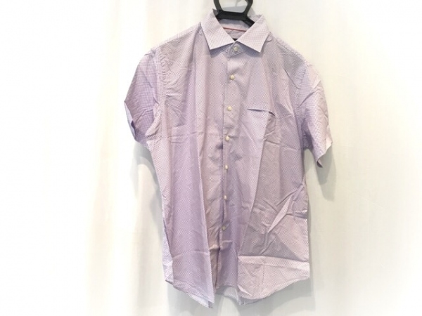 CORNELIANI(コルネリアーニ) 半袖シャツ サイズ18 1/246 メンズ美品  白×パープル