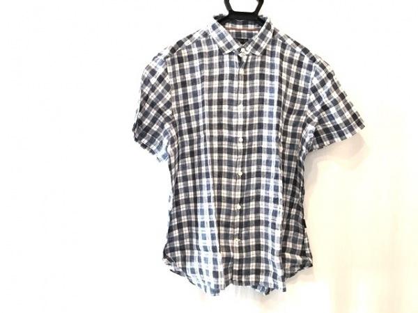 コルネリアーニ 半袖シャツ サイズ18 1/246 メンズ ネイビー×白×黒 チェック柄