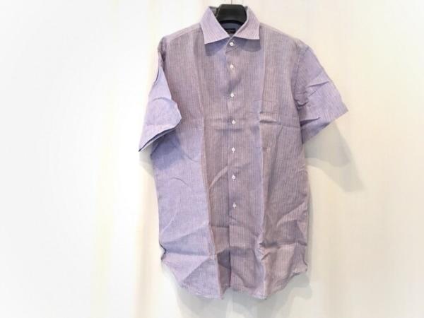 コルネリアーニ 半袖シャツ サイズ17 1/244 メンズ美品  ネイビー×オレンジ