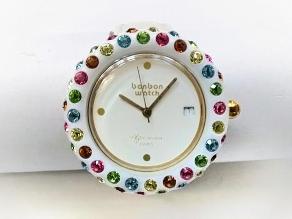 ボンボンウォッチ 腕時計 - レディース Alexandra/ラインストーンベゼル/裏スケ 白
